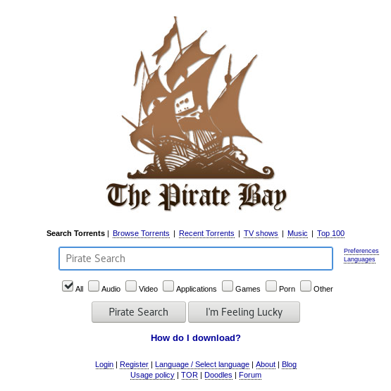 screenshot homepage The Pirate Bay