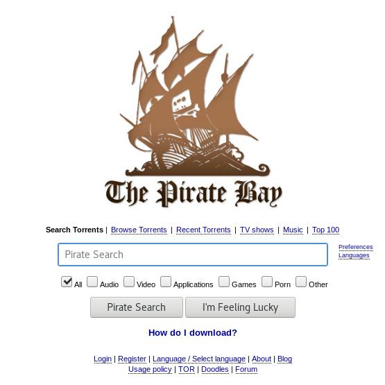 screenshot homepage The Pirate Bay